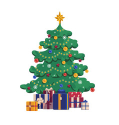 Cartoon christmas tree with gift boxes xmas vector