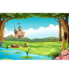 Castle and pond vector image vector image