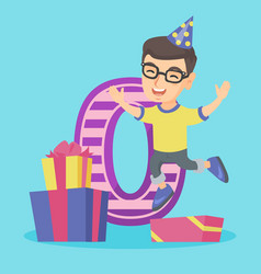 Caucasian celebrating first birthday vector