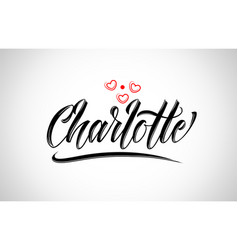 Charlotte city design typography with red heart vector