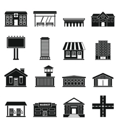 City infrastructure items icons set simple style vector