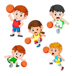 collection of the basketball profesional children vector image
