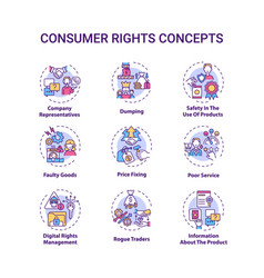 Consumer rights concept icons set vector