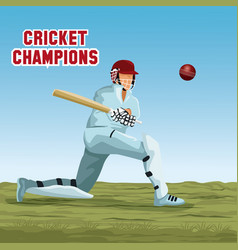 cricket player cartoon vector image