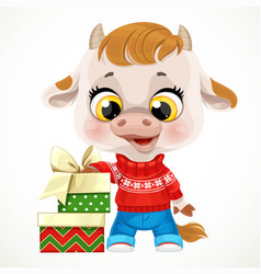 cute cartoon baby calf in red christmas sweater vector image