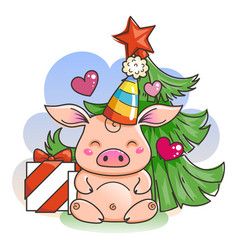 Cute cartoon pig in love symbol of new 2019 year vector