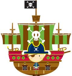 Cute cartoon pirate captain with ship vector