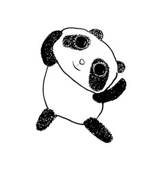 cute happy panda sketch style vector image