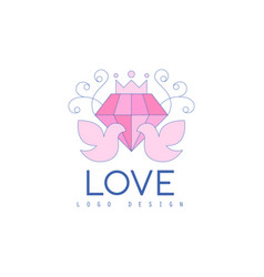 Cute line logo design with love doves and diamond vector