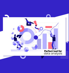 data analysis concept landing page templateflat vector image