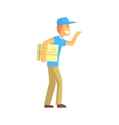 Delivery Guy With Big Backage Ringing The Door vector