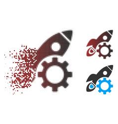 disappearing pixel halftone rocket development vector image