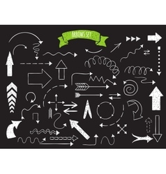 Doodle set of arrows vector image