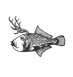 fantastic deer fish animal engraving vector image