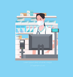 Female doctor pharmacist in face mask standing at vector