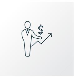 financial planner icon line symbol premium vector image