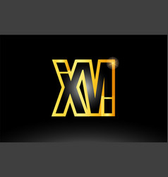 Gold black alphabet letter xm x m logo vector