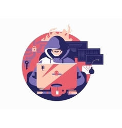 Hacker in shadowing vector image