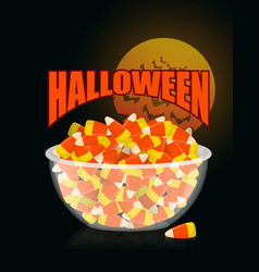 Halloween bowl and candy cornmoon and bat sweets vector