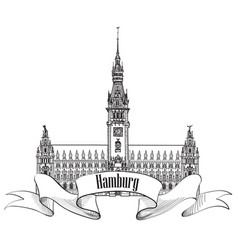 Hamburg landmark town hall germany europe hand vector