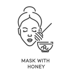 Honey face mask isolated linear icon dry skin vector
