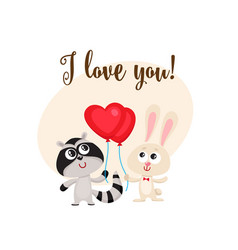 i love you card with rabbit raccoon heart shaped vector image