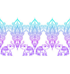 Indian floral pattern with elephant henna mehndi vector