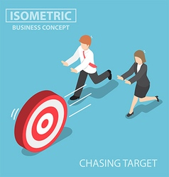 Isometric business people chasing the target vector
