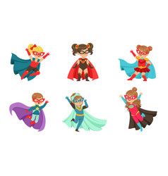Kid superheroes collection cute little boys and vector