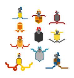 Knight helmet heraldic shield set template vector