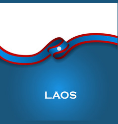Laos sport style flag ribbon classic style vector