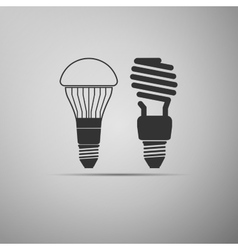 LED bulbs and fluorescent light bulb icon vector image