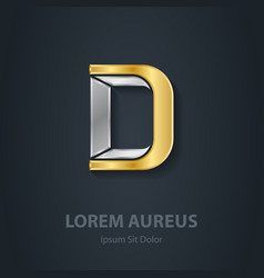 Letter d template for company logo 3d design vector