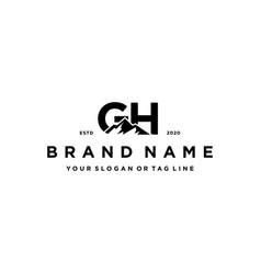 Letter gh mountain logo design vector
