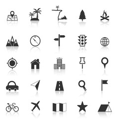 Location icons with reflect on white background vector
