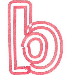 lowercase letter b drawing with Red Marker vector image