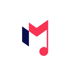 M letter music notes logo icon vector