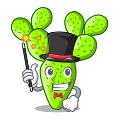 Magician cartoon the prickly pear opuntia cactus vector