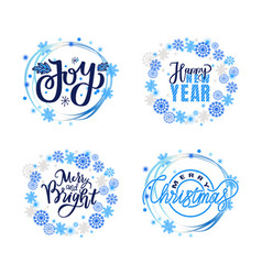 merry and bright christmas joy happy new year vector image