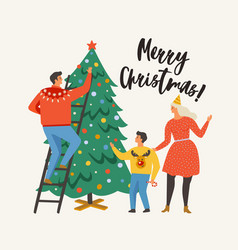 Merry christmas greeting card with people family vector