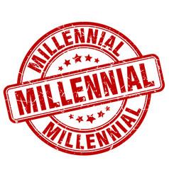 Millennial red grunge stamp vector