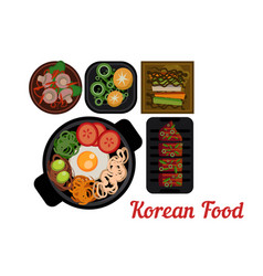 National korean cuisine plates with delicious vector