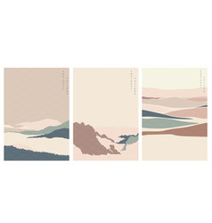 natural landscape with japanese wave pattern vector image