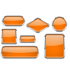 orange glass buttons with chrome frame colored vector image
