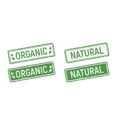 organic rubber stamp set green ecologic natural vector image