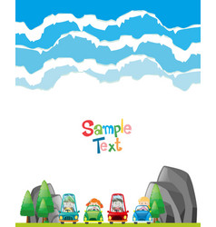 paper design with children in cars vector image