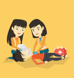 paramedics doing cardiopulmonary resuscitation vector image