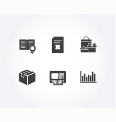 Parcel delete file and shopping icons atm vector