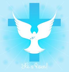 Pigeon in sky cross he is risen vector