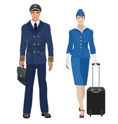 Pilot and stewardess in uniform isolated vector image